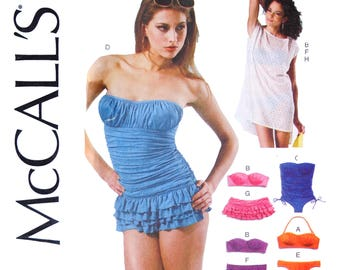 Women's Swimsuit Sewing Pattern - Bikini with Boning, Strapless, Gathers, Drawstrings, McCalls 6569 Size 12 14 16 18 20  Bust 34 35 38 40 42