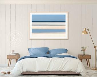 Framed Art, Abstract Beach Photograph, Tidepools Photo, Cape Cod Beach, Nautical Coastal Decor, Large Wall Art, Seascape Artwork, Blue Beige