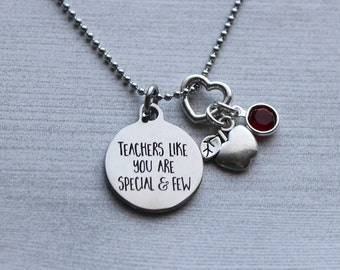 Teachers Like You Are Precious And Few Birthstone Necklace, Teacher Gifts, Gifts for Teacher, Teacher Gift Ideas, Teacher, Teacher Jewelry