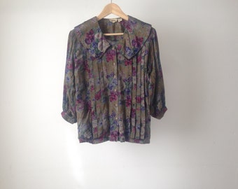 90s FLORAL melrose place slouchy TWIN peaks shirt button down