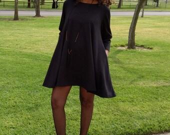 Black Mini Dress, Ponte Knit Swing Dress, Three Quarter Sleeve Aline Dress ~ All Sizes ~ 4 Colors