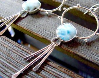 Large Larimar Hoops - Larimar Hoop Earrings - Large Hoop Earrings - Chandelier Earrings - Larimar Earrings - Blue Earrings - Sky