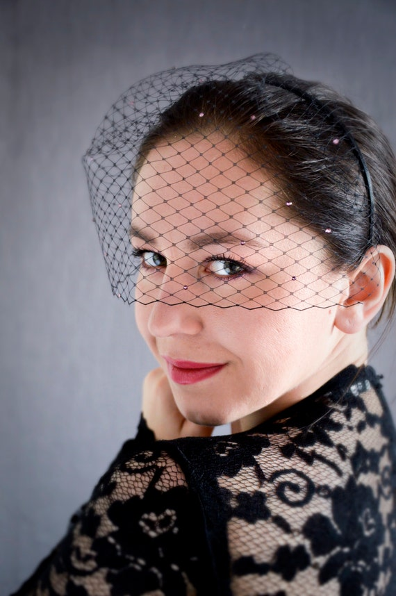 Black Birdcage Veil with Crystals