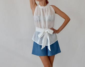 Linen blouse / linen top / linen / white linen top / sheer top / high neck / ruffle