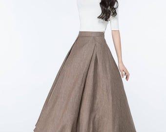 brown skirt, long linen skirts, maxi linen skirts, full skirt, vintage skirt, skirt long, plus size, circle skirts, plus size skirts  C1063