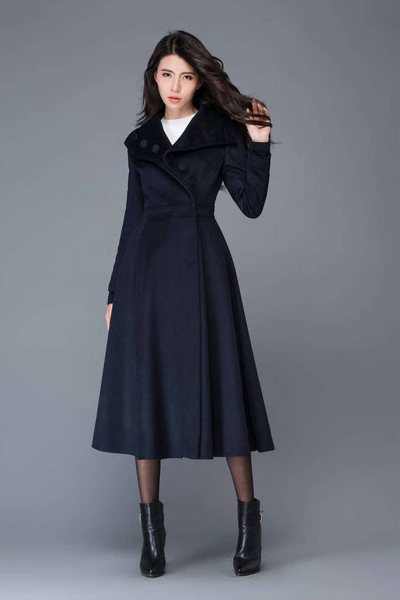 Swing coat womens coats flare coat dress coat navy blue