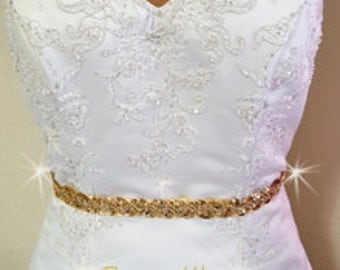 Gold  Prom Sash, Prom Belt, Gold Sequin Prom Belt, Wedding Sash Belt, Gold Ribbon and Sequin Wedding Sash, Sequin Belt