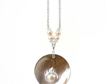 Pearl on Shell Pendant Necklace, Big Pendant Unique Pearl Jewelry
