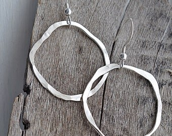 Large Hoop Earrings, Silver Hoop Earrings, Hammered Silver Earrings, Dangle Earrings, Lightweight Earrings, Gifts Under 20, Boho Earrings
