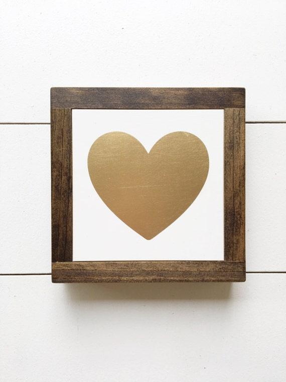 7x7 | Gold Heart Mini Sign