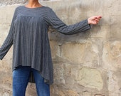 Grey Tunic/ Maxi Tunic/ long sleeve top/ plus size tunic/ plus size top / grey maxi tunic/ plus size clothing/ Maternity clothing