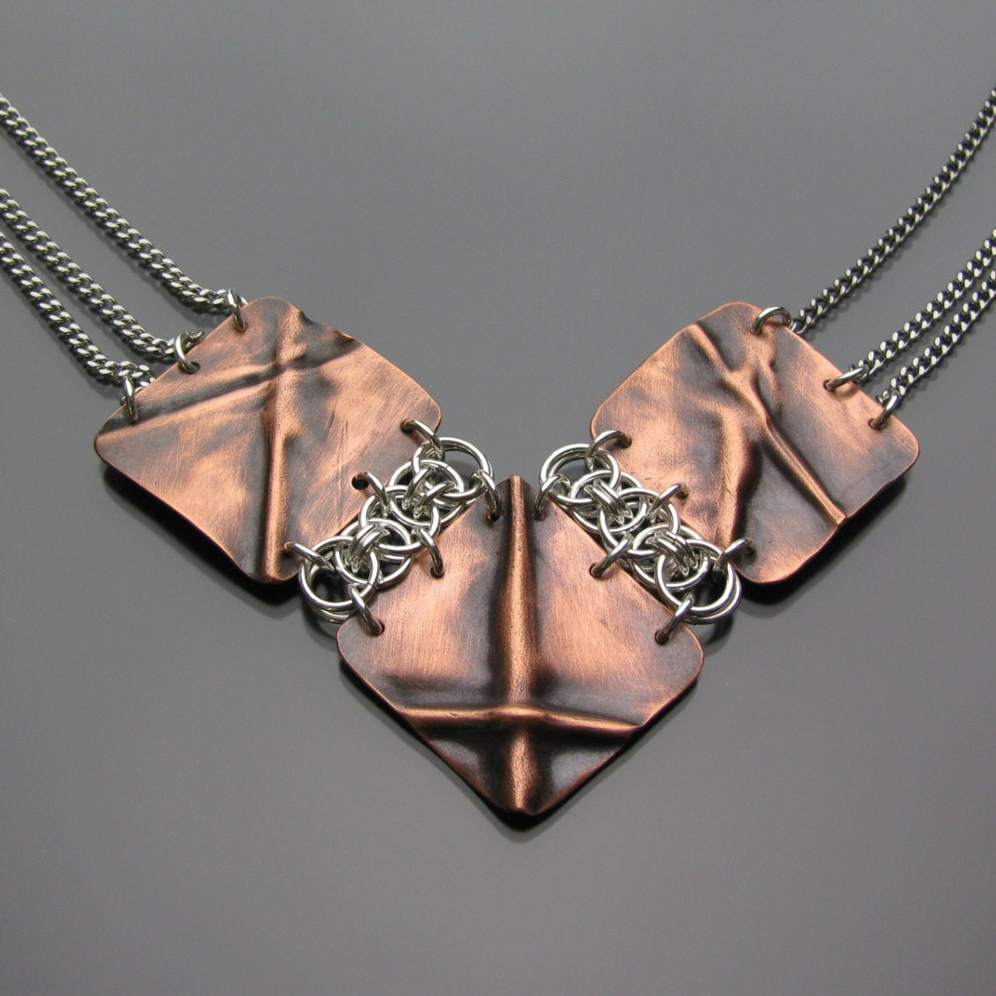 Fold Formed Copper And Sterling Silver Chainmaille Parallel