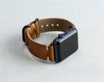 Leather Apple Watch Strap for 38mm or 42mm Apple Watch // Horween Leather Watch Band in English Tan // Loop Hardware