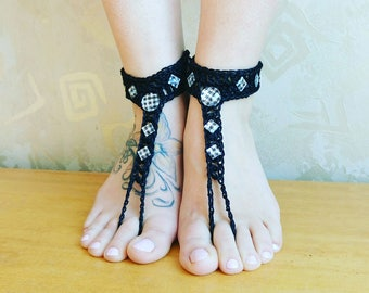 Black Barefoot Sandals- Beaded Foot Jewelry- Footless Sandals- Barefoot Wedding Sandal- Beach Wedding- Bridesmaid gift- Yoga Belly dancing