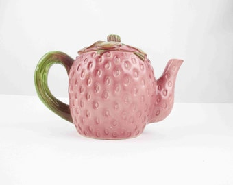 A 'Strawberry' Teapot - Ceramic Teapot - Rose With Sage Green Handle and Lid - Gift - Beautifully Detailed - Strawberry - Teapot