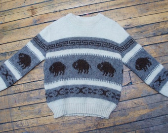BROWN BISON 1970's Cowichan / Siwash Wool Buffalo Sweater, by Kalpakian Knitting Mills, made in Canada