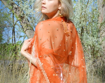 orange net shawl, tangerine bridal wrap, embroidered stole, formal shawls, indian bridal shawl, orange wedding evening stole