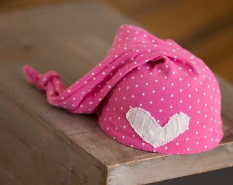 Pink Newborn Hat, Upcycled Hat, Newborn Girl Hat, Pink Polka Dot Sleepy Time Hat, Newborn Photo Prop, Newborn Knot Hat, Girl Photo Props RTS
