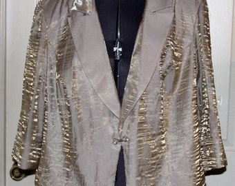 Vintage Alex Evenings Jacket  - Blazer - Gold Shimmer over Beige - Wedding - Size 22W - Plus Size