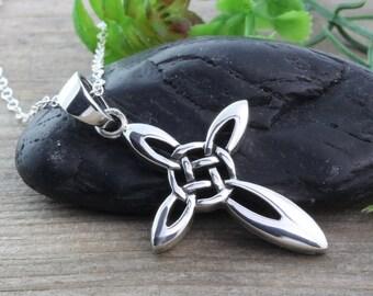 Silver Celtic Cross Necklace, Irish Celtic Cross Necklace, Sterling Silver Cross Necklace, Sterling Silver Celtic Jewelry, Unisex cross 977