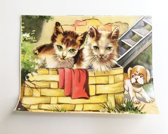 puppy and two kittens vintage illustrated ephemera