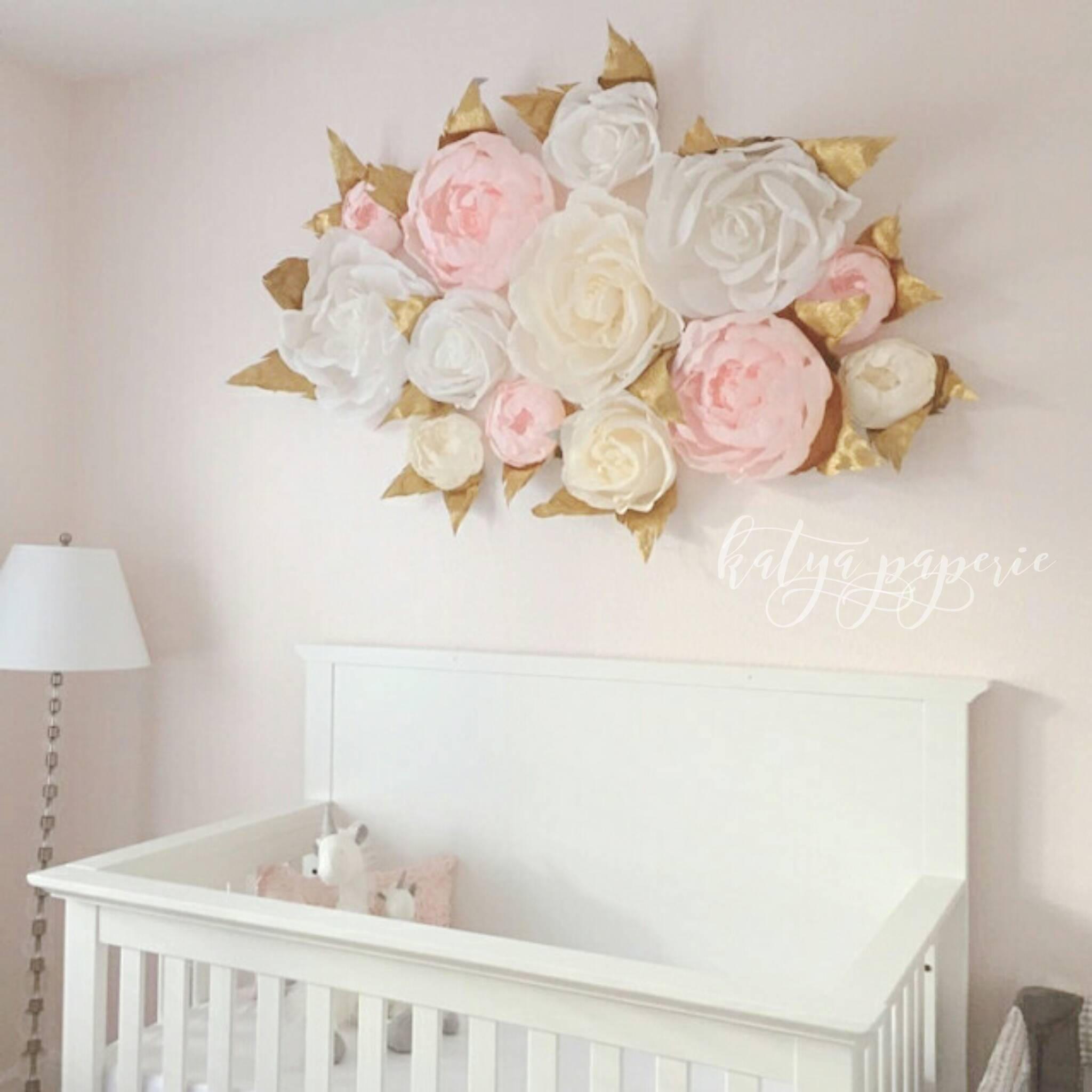 Nursery wall paper flowers Paper flower wall display Shop