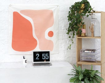 Peach Tapestry Wall Hanging with eyelets for hanging. Typography wall banner