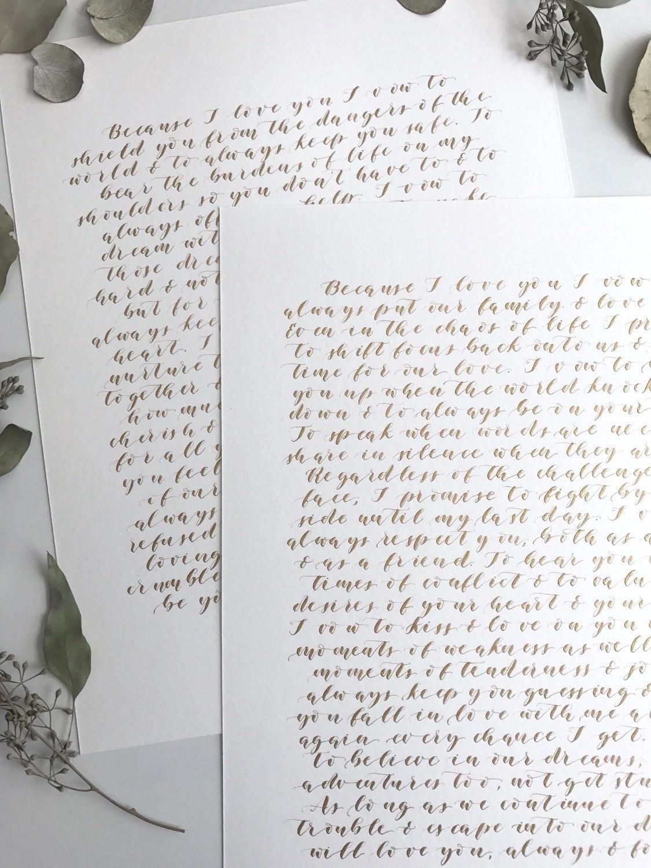 Custom wedding vow calligraphy vows