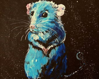 "Original artwork.on canvas ""Cute rat"",mouse,animal,small painting,cute,sweet,children bedroom,art,animal,animal art"