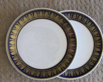 Sterling China Beaux Arts Restaurant Ware Plate Cobalt Gold on Medallion White  8 inch Salad Dessert Excellent Vintage Condition PAIR 1970s