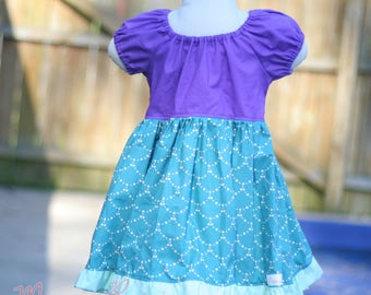 Mermaid, Ariel inspired, Peasant dress lil Mermaid, Disney Inspired,Girls Christmas gift,Costume,Dress Up, Every Day Play Wear, Handmade