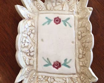 Handmade Ceramic Soap Dish With Lace And Flower Design