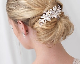 Floral Bridal Comb, Freshwater Pearl Wedding Comb, Rhinestone Wedding Headpiece, Floral Bridal Headpiece, Flower Comb for Bride ~TC-2050-S