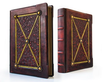 """Medieval Styled Large Leather Journal - 9"""" x 12"""" - 700 pages - Italian leather - unique journal, special gift, book of shadows"""