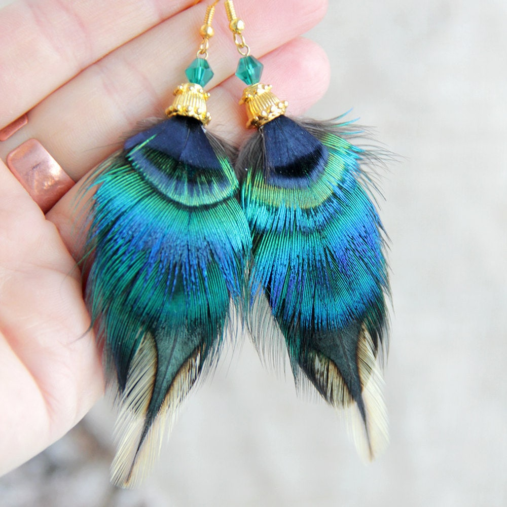 Feather Jewelry: Blue Feather Earrings Festival Feather Earrings Northem