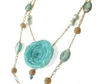 Aquamarine Flower Fabric Necklace, Unique Jewelry, Two Tiered Necklace, Wedding Necklace, Flower Jewelry, Chiffon Flower, Handmade Jewelry