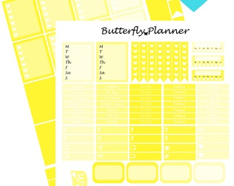 Yellow Printable Planner Stickers, 2 Pages, Digital Download,