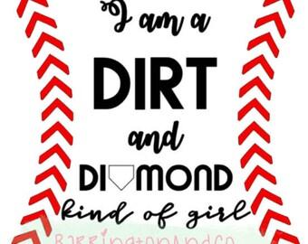 Dirt & Diamond Baseball Vinyl Decal