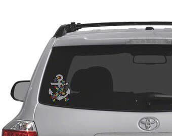 Autism Awareness Ribbon Car Decal - Rhinestone Decal - Hard Surface - Car Sticker - Autism  - Anchor - Bling - Nautical - Ribbon - Puzzle