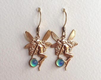 Mood Earrings Fairy Elf color changing 24K Gold Plated Brass