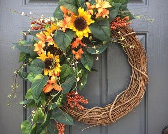 Sunflower Wreath, Spring Sunflowers, Spring Door Wreaths, Sunflower Decor, Spring Gifts, Gift for Her, Sunflower Decorations, Spring Door