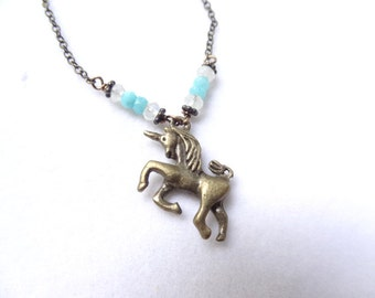 Blue Amazonite and Moonstone Bronze Unicorn Pendant handmade Necklace with crystal bead charm