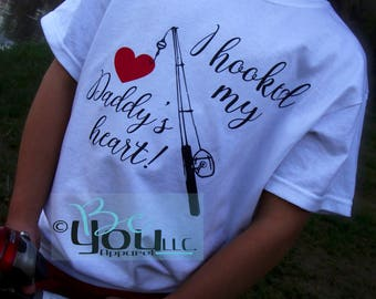 hooked on daddy; fishing shirt; daddy daughter shirts; daddy and son; fathers day gift; fathers day gift from daughter; new dad gift; daddy