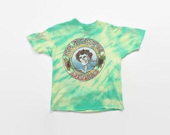 Vintage 80s GRATEFUL DEAD T-SHIRT / 1980s 88 Tour Concert Tie-Dye Tee Shirt M
