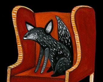 Black Fox in a Red Chair Print - Fox Print - Kids Room Print - Giclee Print