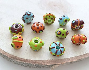 European style beads, large hole beads, polymer clay bead set, 11 pieces fimo beads, handmade jewelry supply
