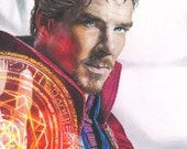 Print of Colored Pencil Drawing of Benedict Cumberbatch as Doctor Strange 8.5 x 11