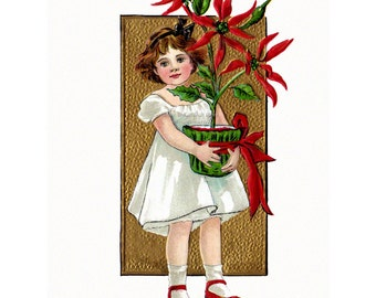 Christmas Fabric Block - Girl with Poinsettia - Repro Vintage Style