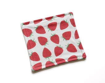 SALE || Organic Reusable Cloth || 16cm x 16cm || Strawberries || Organic Backing