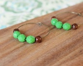 wood bead and green czech glass hoop earrings - medium hoop